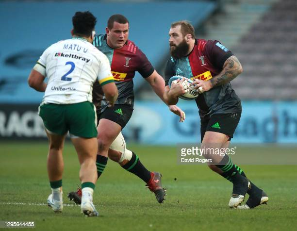 Joe Marler of Harlequins runs with the ball during the Gallagher Premiership Rugby match between Harlequins and London Irish at Twickenham Stoop on...