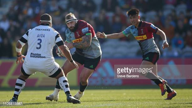 Joe Marler of Harlequins takes on John Afoa of Bristol Bears during the Gallagher Premiership Rugby match between Harlequins and Bristol Bears at...