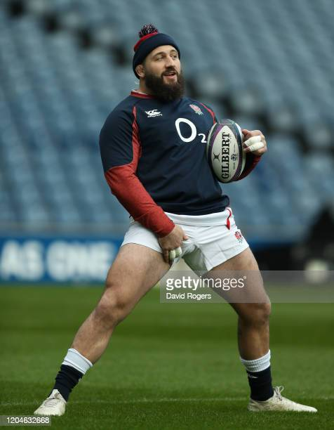 Joe Marler stretches during the England captain's run at Murrayfield on February 07 2020 in Edinburgh Scotland