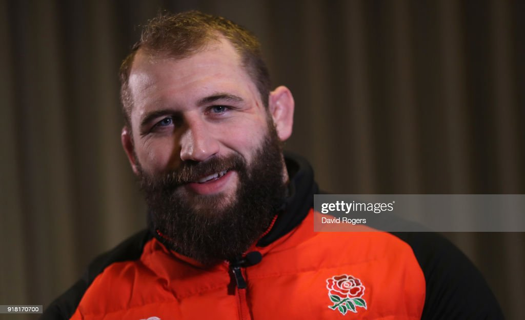 Joe Marler, the England prop faces the media during the England meida session held at the Royal Garden Hotel on February 13, 2018 in London, England.