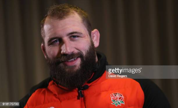 Joe Marler the England prop faces the media during the England meida session held at the Royal Garden Hotel on February 13 2018 in London England