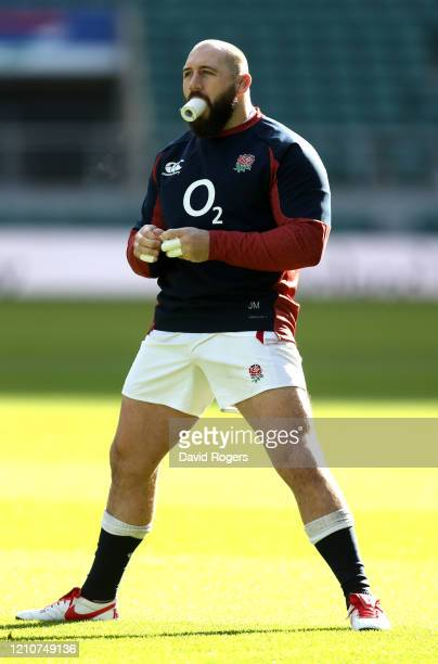 Joe Marler the England prop looks on during the England captain's run at Twickenham Stadium on March 06 2020 in London England