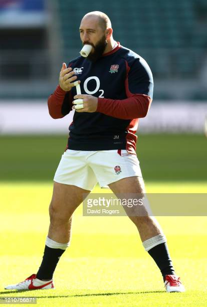 Joe Marler the England prop prepares during the England captain's run at Twickenham Stadium on March 06 2020 in London England