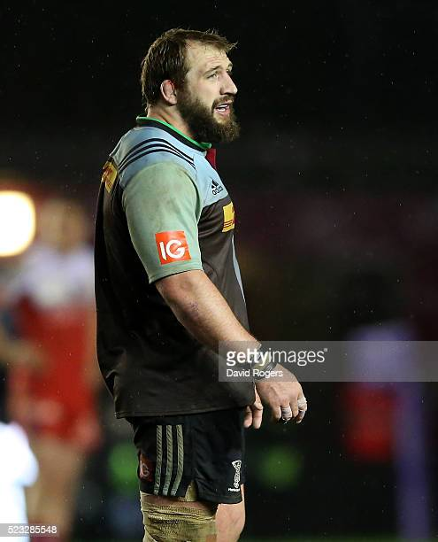 Joe Marler the Harlequins prop looks on during the European Rugby Challenge Cup semi final match between Harlequins and Grenoble at Twickenham Stoop...