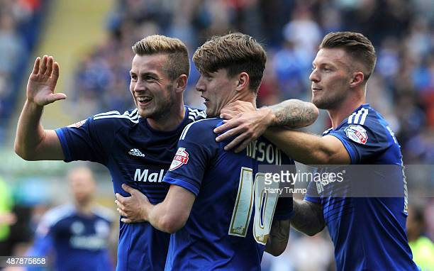 Joe Mason of Cardiff City celebrates his sides second goal during the Sky Bet Championship match between Cardiff City and Huddersfield at Cardiff...