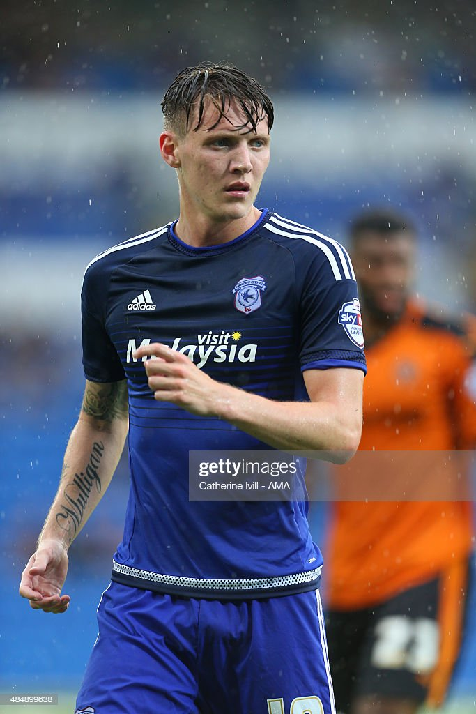 Joe Mason of Cardiff City during the Sky Bet Championship match between Cardiff City and Wolverhampton Wanderers at Cardiff City Stadium on August 22, 2015 in Cardiff, Wales.