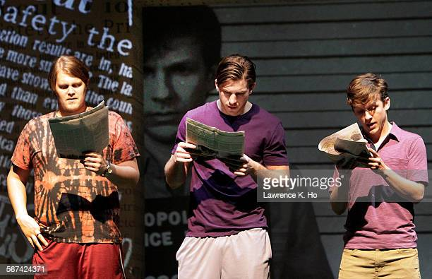 """Joe Massingill as Bobby, Kristooher Higgins as Victor and Seamus Mulcahy as Eric in the dress rehearsal of the play """"Above the Fold"""" at Pasadena..."""