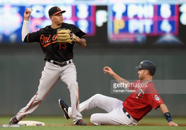 Joe Mauer of the Minnesota Twins is out at second base as Manny Machado of the Baltimore Orioles attempts to turn a double play during the fourth...