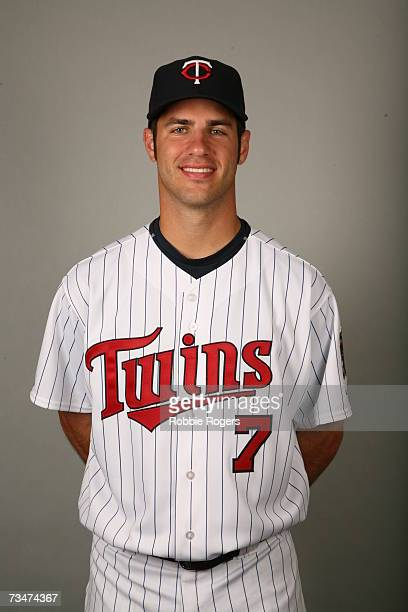 Joe Mauer of the Minnesota Twins poses during photo day at Hammond Stadium on February 26 2007 in Ft Myers Florida