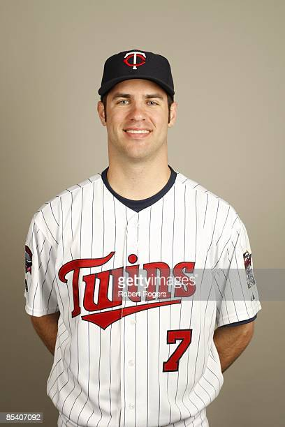 Joe Mauer of the Minnesota Twins poses during Photo Day on Monday February 23 2009 at Hammond Stadium in Fort Myers Florida