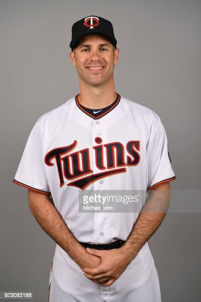 Joe Mauer of the Minnesota Twins poses during Photo Day on Wednesday February 21 2018 at CenturyLink Sports Complex in Fort Myers Florida