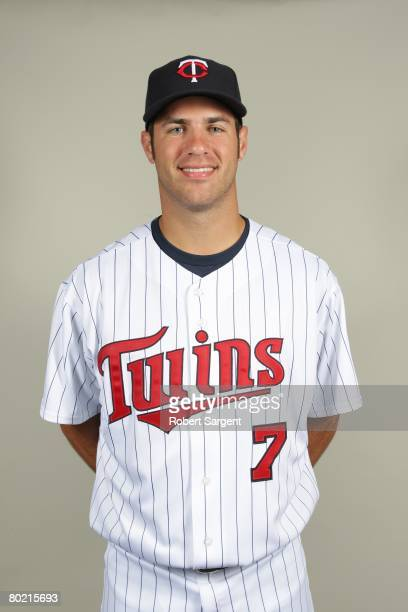 Joe Mauer of the Minnesota Twins poses for a portrait during photo day at Hammond Stadium on February 25 2008 in Ft Myers Florida