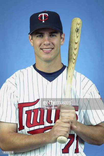 Joe Mauer of the Minnesota Twins poses for a portrait during theTwins' spring training Media Day on February 24 2003 at Ed Smith Stadium in Sarasota...