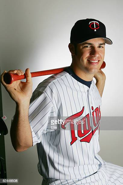 Joe Mauer poses for a portrait during the Minnesota Twins Portrait Day on February 28 2005 at Hammond Stadium in Ft Myers Florida