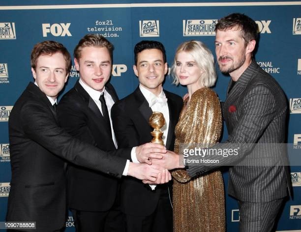 Joe Mazzello Ben Hardy Rami Malek Lucy Boynton and Gwilym Lee attend the FOX FX and Hulu 2019 Golden Globe Awards after party at The Beverly Hilton...