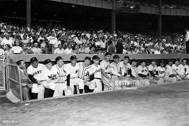 Joe McCarthy, Bill Terry, Cy Young, Rogers Hornsby, Joe DiMaggio, Jimmie Foxx, unidentified, Carl Hubbell, Mickey Cochrane, Al Simmons, Robert...