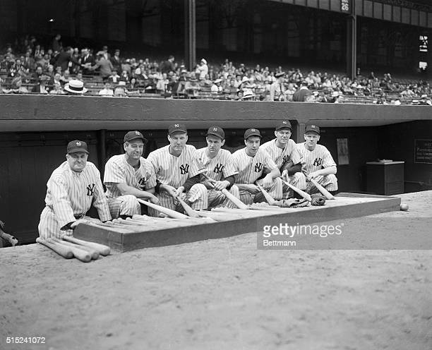 Joe McCarthy who will manage the All Stars of the American League in their game with the National League All Stars, is pictured here with members of...