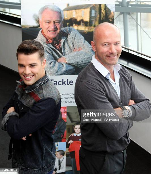 Joe McElderry and Alan Shearer at the announcement in Gateshead of Sir Bobby Robson A Celebration an event at the Sage in February to raise funds for...