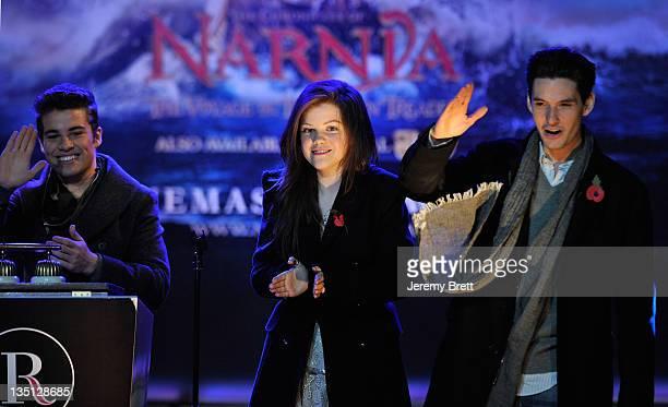 Joe McElderry Georgie Henley and Ben Barnes switch on the Regent Street Christmas Lights on November 9 2010 in London England