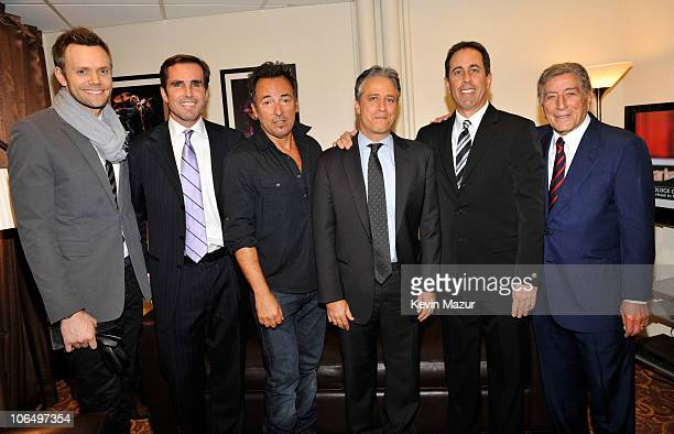 """Joe McHale, Bob Woodruff, Bruce Springsteen, Jon Stewart, Jerry Seinfeld and Tony Bennett backstage at """"Stand Up for Heroes"""" at the Beacon Theatre on..."""