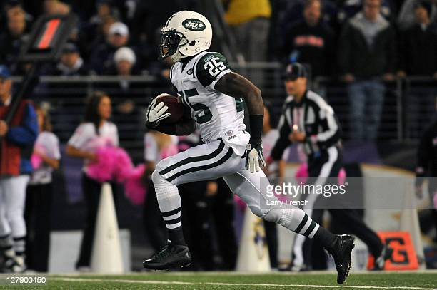 Joe McKnight of the New York Jets returns a kickoff for a touchdown against the Baltimore Ravens at M&T Bank Stadium on October 2. 2011 in Baltimore,...