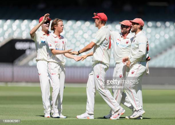 Joe Medew-Ewen of South Australia celebrates after dismissing David Warner of New South Wales during day four of the Sheffield Shield match between...