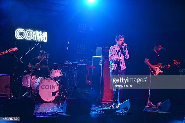 Joe Memmel, Ryan Winnen, Chase Lawrence and Zach Dyke of COIN performs during An Intimate Night Out at Revolution Live on July 9, 2015 in Fort...