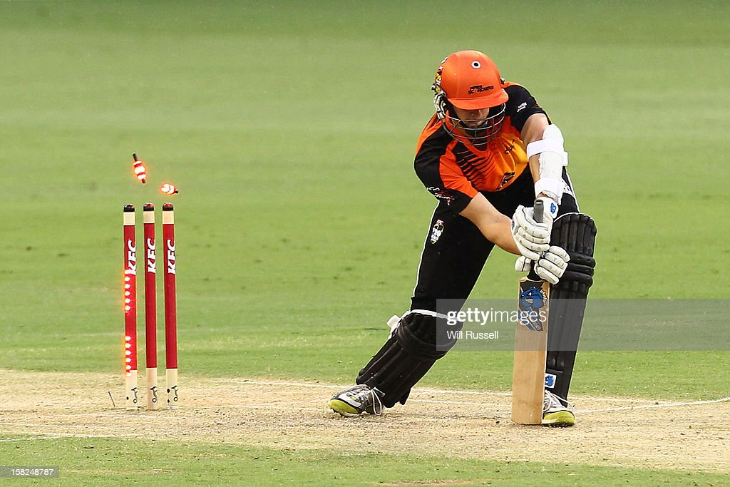 Joe Mennie is out LBW off a bowl by Lasith Malinga of the Stars during the Big Bash League match between the Perth Scorchers and the Melbourne Stars at WACA on December 12, 2012 in Perth, Australia.