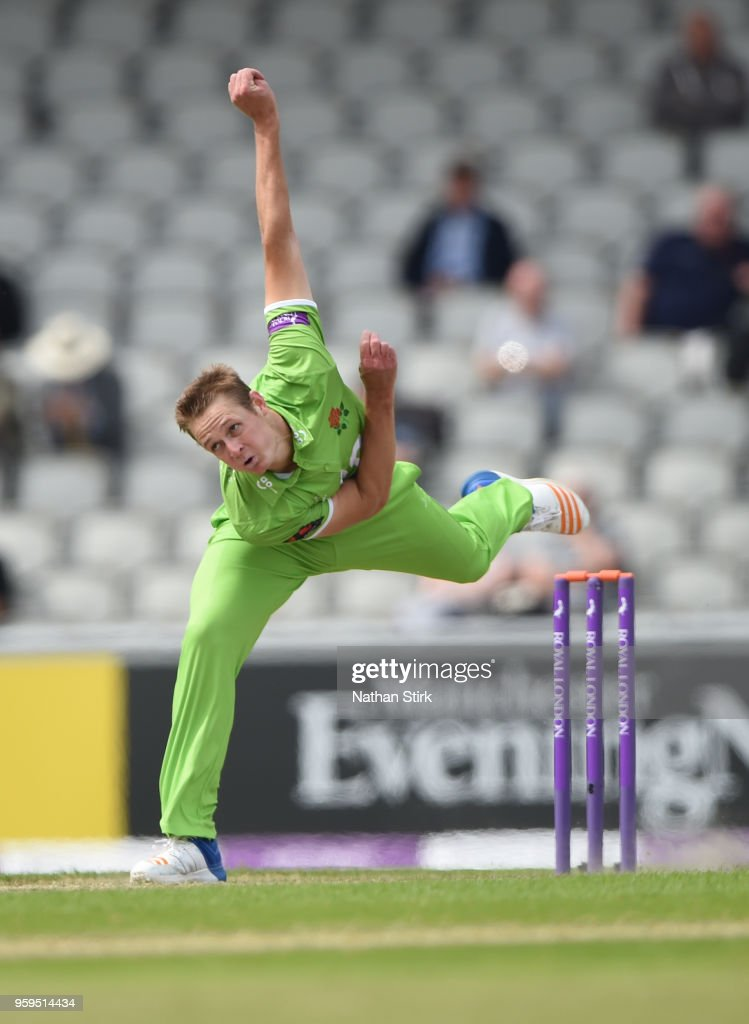 Joe Mennie of Lancashire runs into bowl during Royal London One-Day Cup match between Lancashire and Nottinghamshire at Old Trafford on May 17, 2018 in Manchester, England.