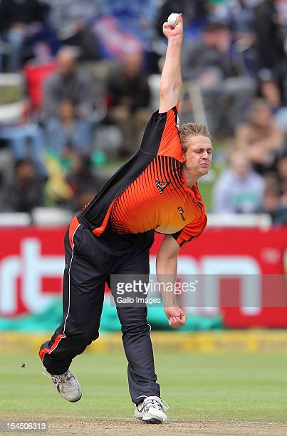 Joe Mennie of Perth Scorchers in action during the Champions league twenty20 match between Perth Scorchers and Delhi Daredevils at Sahara Park...