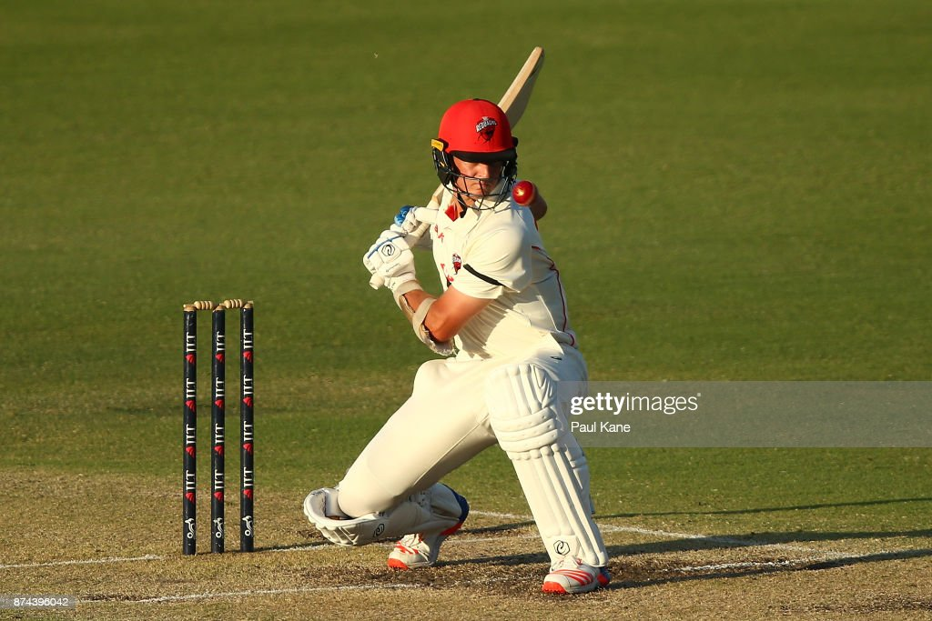 Joe Mennie of South Australia bats during day three of the Sheffield Shield match between Western Australia and South Australia at WACA on November 15, 2017 in Perth, Australia.
