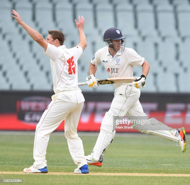 Joe Mennie of the Redbacks appeals for lbw against Moises Henriques of the Blues a he runs past during the Sheffield Shield match between South...