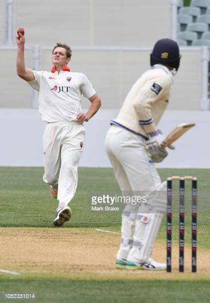 Joe Mennie of the Redbacks bowls to Trent Copeland of the Blues during the Sheffield Shield match between South Australia and New South Wales at...