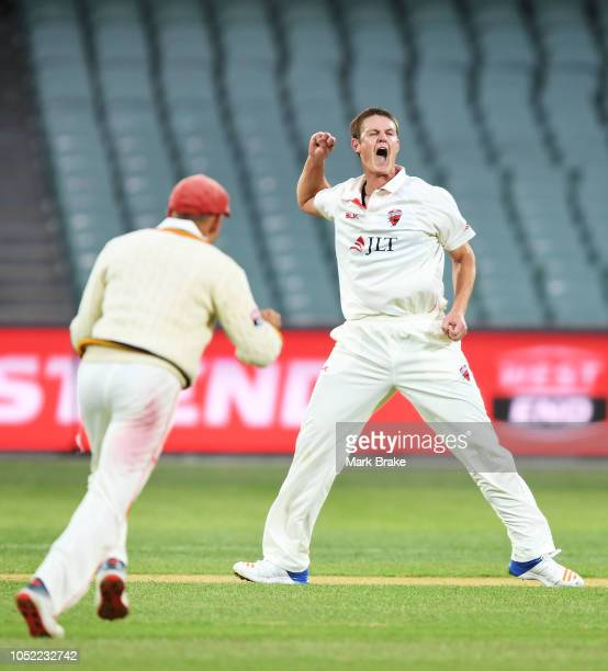Joe Mennie of the Redbacks celebrates after taking the wicket of Daniel Hughes of the Blues on the last of the day during the Sheffield Shield match...