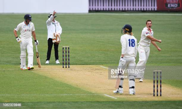 Joe Mennie of the Redbacks gets the wicket of Jack Edwards of the Blues LBW during the Sheffield Shield match between South Australia and New South...