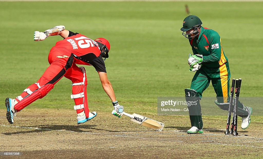 Joe Mennie of the Redbacks is run out during the Matador BBQs One Day Cup match between South Australia and Tasmania at Blacktown International Sportspark on October 14, 2015 in Sydney, Australia.