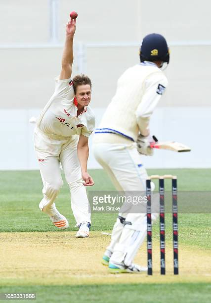 Joe Mennie of the Redbacks to Trent Copeland of the Blues during the Sheffield Shield match between South Australia and New South Wales at Adelaide...