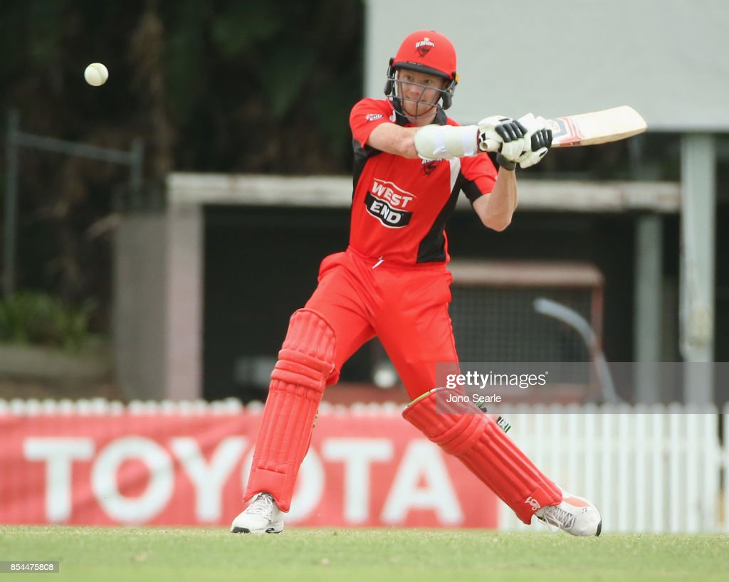 Joe Mennis of SA hits the ball during the JLT One Day Cup match between South Australia and the Cricket Australia XI at Allan Border Field on September 27, 2017 in Brisbane, Australia.