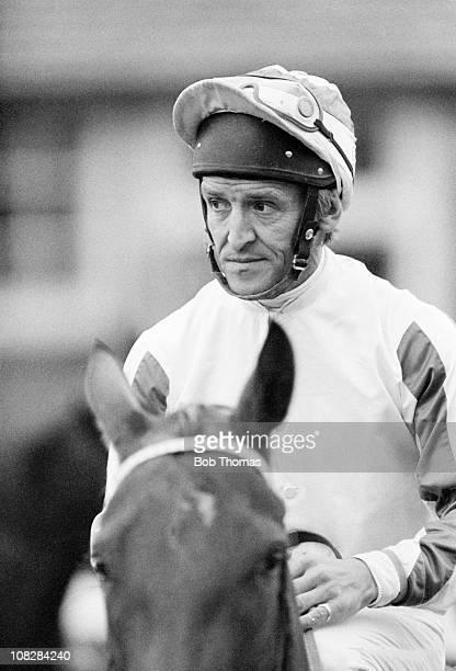 Joe Mercer riding at Leicester racecourse circa October 1980