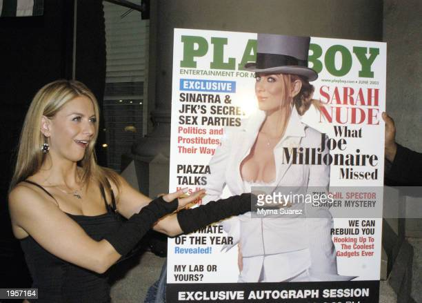 'Joe Millionaire' runner up Sarah Kozer attends a party celebrating her cover and nude pictorial for Playboy magazine held at Rehab April 28 2003 in...
