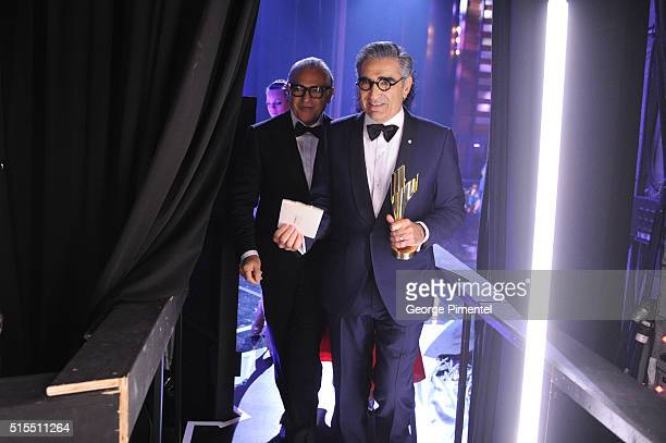 Joe Mimran and Eugene Levy pose backstage at the 2016 Canadian Screen Awards at the Sony Centre for the Performing Arts on March 13 2016 in Toronto...