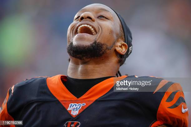 Joe Mixon of the Cincinnati Bengals celebrates a touchdown during the second half against the Cleveland Browns at Paul Brown Stadium on December 29,...
