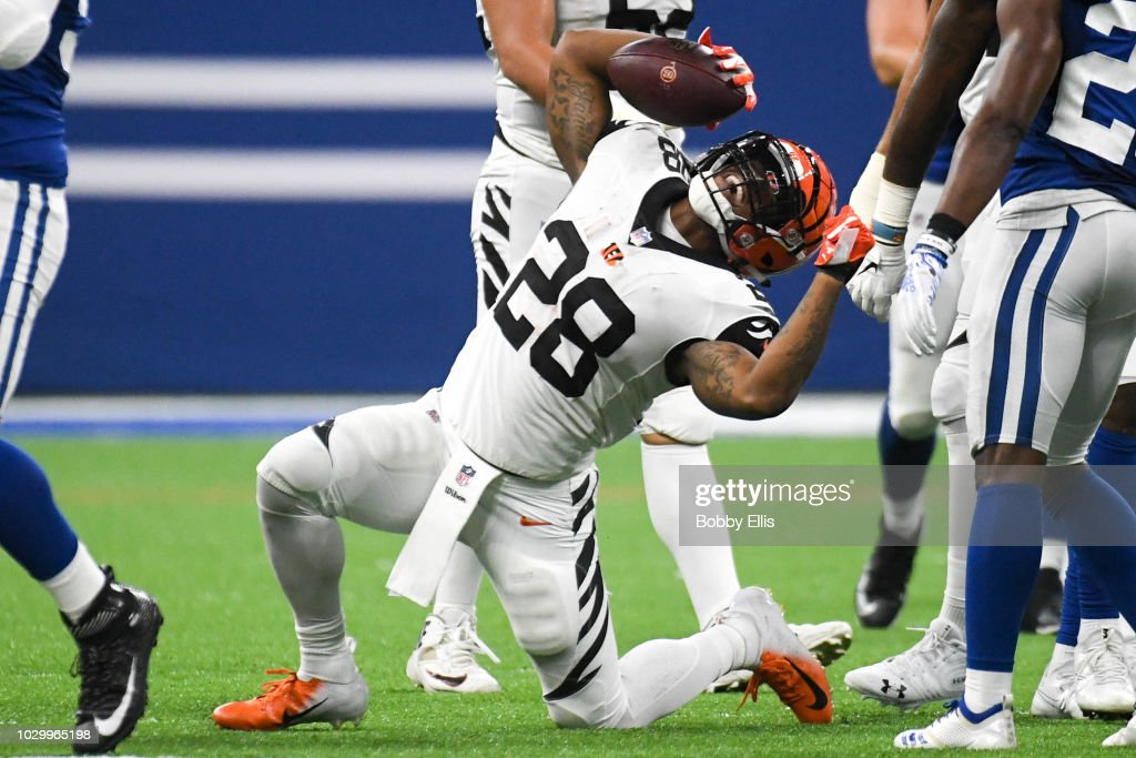 Joe Mixon #28 of the Cincinnati Bengals celebrates after running the ball in the game against the Indianapolis Colts at Lucas Oil Stadium on September 9, 2018 in Indianapolis, Indiana.