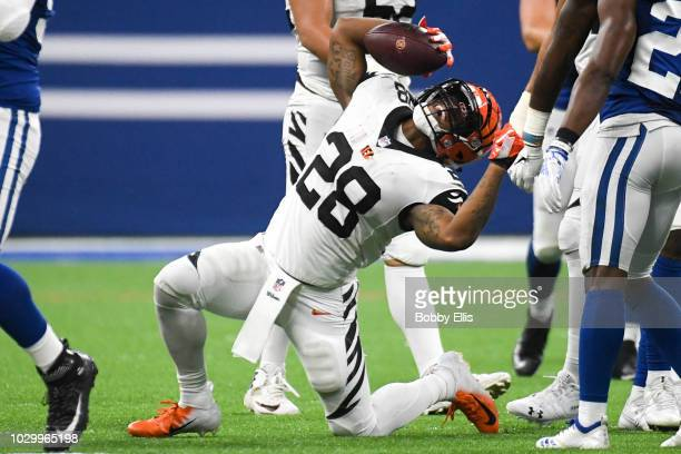 Joe Mixon of the Cincinnati Bengals celebrates after running the ball in the game against the Indianapolis Colts at Lucas Oil Stadium on September 9...