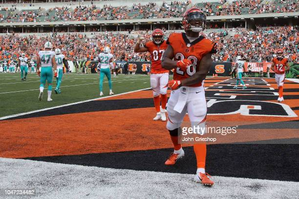Joe Mixon of the Cincinnati Bengals celebrates after scoring a touchdown during the fourth quarter of the game against the Miami Dolphins at Paul...