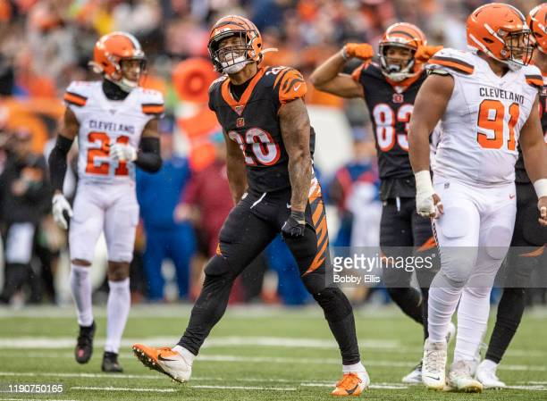 Joe Mixon of the Cincinnati Bengals reacts after running for a first down in the fourth quarter of the game against the Cleveland Browns at Paul...