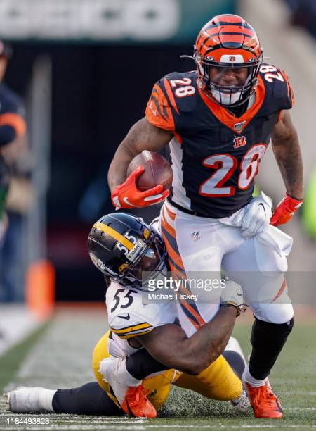 Joe Mixon of the Cincinnati Bengals runs the ball as Devin Bush of the Pittsburgh Steelers tries to hold on for the tackle at Paul Brown Stadium on...