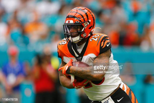 Joe Mixon of the Cincinnati Bengals runs with the ball against the Miami Dolphins during the third quarter at Hard Rock Stadium on December 22, 2019...