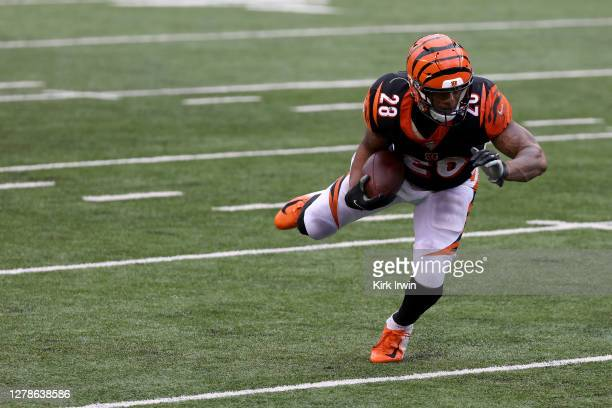 Joe Mixon of the Cincinnati Bengals runs with the ball during the game against the Jacksonville Jaguars at Paul Brown Stadium on October 4, 2020 in...