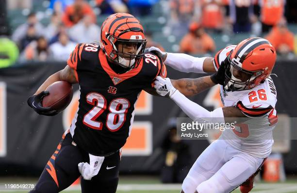 Joe Mixon of the Cincinnati Bengals runs with the ball while defended by Greedy Williams of the Cleveland Browns at Paul Brown Stadium on December...